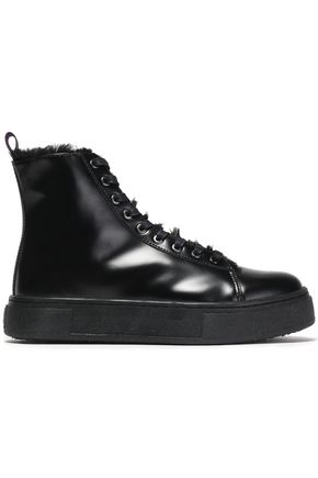 EYTYS Glossed-leather and faux fur high-top sneakers