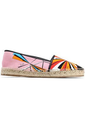 EMILIO PUCCI Leather-trimmed printed canvas epsadrilles