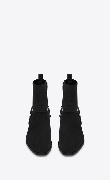 SAINT LAURENT Boots Man wyatt40 harness boot in black suede b_V4