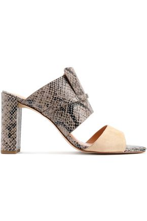 HALSTON HERITAGE Snake-effect leather and suede mules