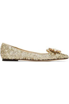 DOLCE & GABBANA Embellished point-toe ballet flats