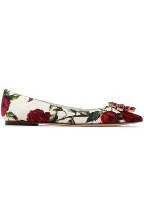 DOLCE & GABBANA Bellucci crystal-embellished floral-print jacquard point-toe flats