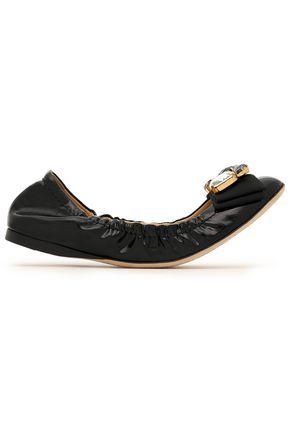 DOLCE & GABBANA Crystal and bow-embellished patent-leather ballet flats