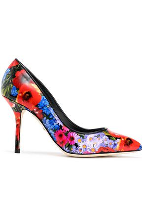 DOLCE & GABBANA Kate floral-print glossed-leather pumps