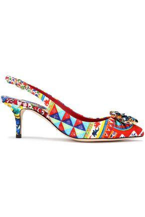 DOLCE & GABBANA Crystal-embellished printed jacquard slingback pumps