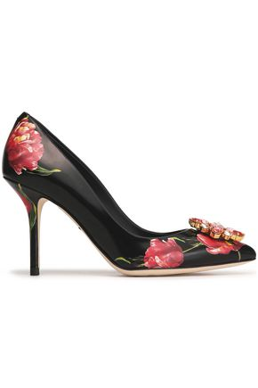 DOLCE & GABBANA Bellucci crystal-embellished floral-print leather pumps