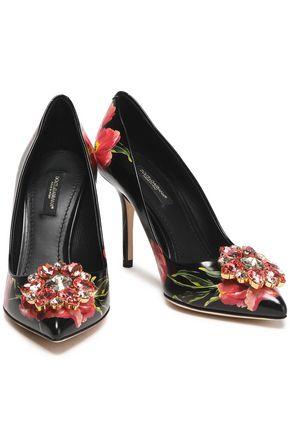 6f7af324598b DOLCE   GABBANA Bellucci crystal-embellished floral-print leather pumps