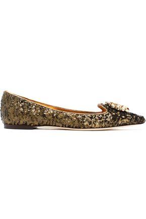 DOLCE & GABBANA Embellished point-toe ballet flats