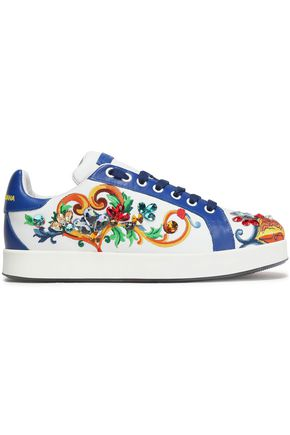 DOLCE & GABBANA Portofino crystal-embellished embroidered leather sneakers