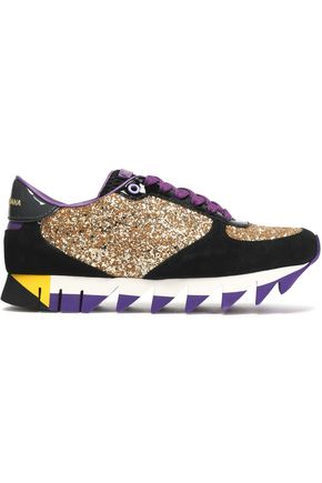 DOLCE & GABBANA Capri glittered leather and suede platform sneakers