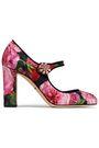 DOLCE & GABBANA Crystal-embellished floral-print jacquard Mary Jane pumps