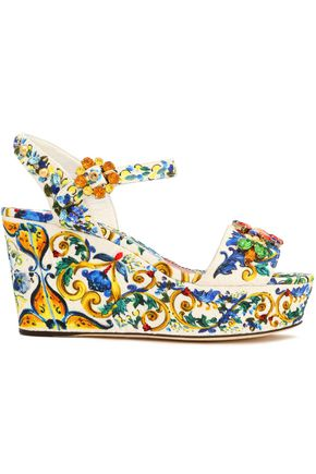 DOLCE & GABBANA Embellished printed jacquard wedge sandals