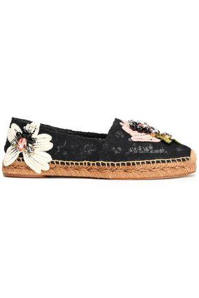 DOLCE & GABBANA Floral-appliquéd corded lace espadrilles