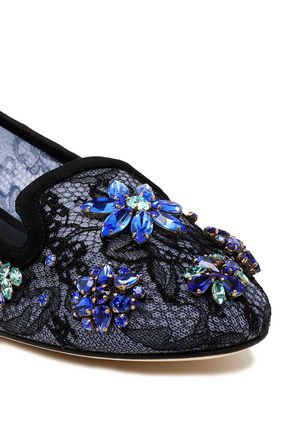 DOLCE & GABBANA Embellished corded lace ballet flats