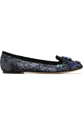 DOLCE & GABBANA Embellished corded lace ballet flats