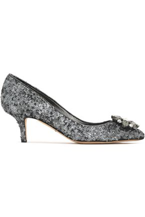 DOLCE & GABBANA Crystal-embellished sequined leather pumps