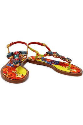 4bc146ea16d411 DOLCE   GABBANA Crystal-embellished printed leather sandals