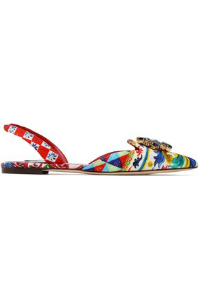 DOLCE & GABBANA Embellished printed woven point-toe flats
