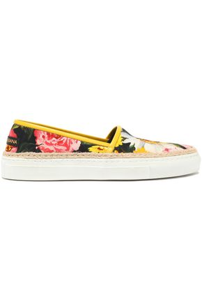 DOLCE & GABBANA Leather-trimmed floral-print canvas espadrille slip-on sneakers