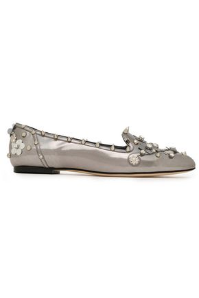 DOLCE & GABBANA Embellished metallic leather loafers