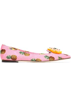DOLCE & GABBANA Bellucci embellished printed jacquard point-toe flats