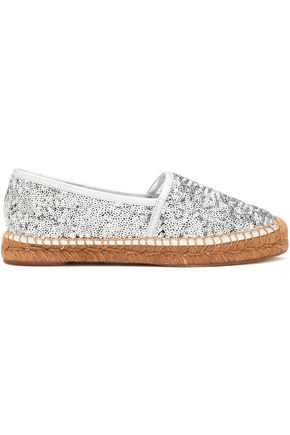 DOLCE & GABBANA Leather-trimmed sequined canvas espadrilles