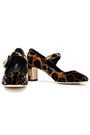 DOLCE & GABBANA Vally embellished leopard-print velvet Mary Jane pumps