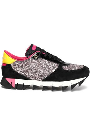 DOLCE & GABBANA Patent-leather and suede-trimmed glittered leather sneakers
