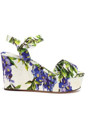 DOLCE & GABBANA Floral-print jacquard wedge sandals