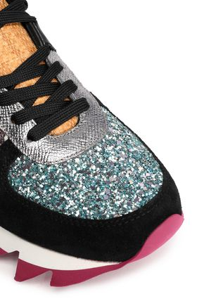 DOLCE & GABBANA Glittered paneled suede sneakers