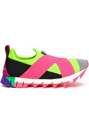 DOLCE & GABBANA Neon color-block neoprene sneakers