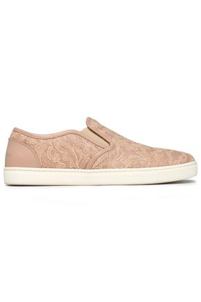 DOLCE & GABBANA Leather-trimmed corded lace slip-on sneakers