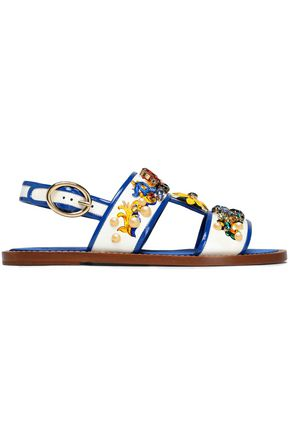 DOLCE & GABBANA Embellished printed patent-leather slingback sandals