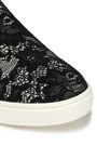 DOLCE & GABBANA Lace-appliquéd paneled leather slip-on sneakers