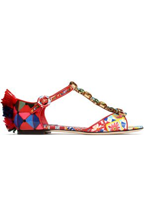 DOLCE & GABBANA Crystal-embellished fringe-trimmed printed patent-leather sandals