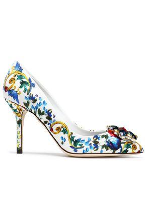 DOLCE & GABBANA Crystal-embellished printed jacquard pumps