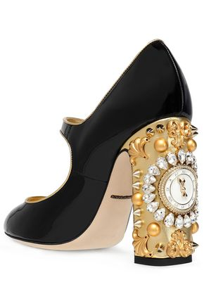 9be0111303 Embellished patent-leather Mary Jane pumps   DOLCE & GABBANA   Sale ...