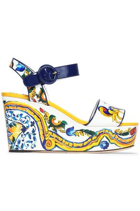 DOLCE & GABBANA Printed patent-leather wedge sandals