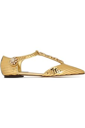 DOLCE & GABBANA Crystal-embellished metallic leather point-toe flats