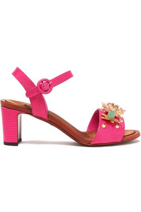 DOLCE & GABBANA Keira embellished lizard-effect leather sandals