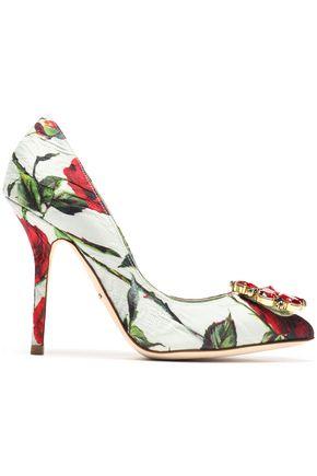 DOLCE & GABBANA Crystal-embellished floral-print jacquard pumps