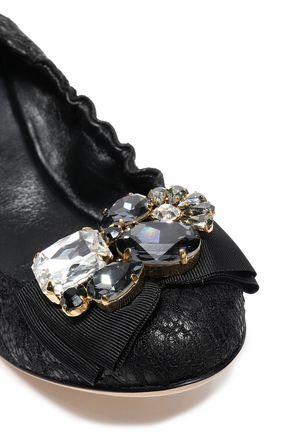 DOLCE & GABBANA Grosgrain-trimmed embellished corded lace ballet flats