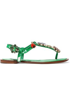 DOLCE & GABBANA Embellished printed satin sandals