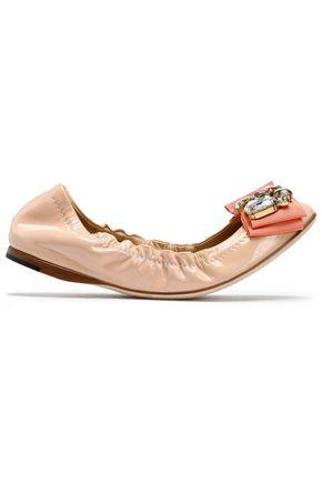 DOLCE & GABBANA Embellished patent-leather ballet flats