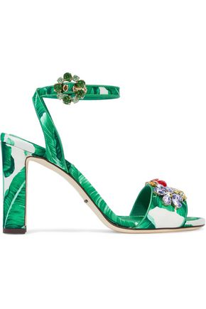 DOLCE & GABBANA Embellished printed silk-blend satin sandals