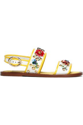 DOLCE & GABBANA Embellished floral-print patent-leather sandals