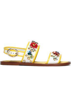 DOLCE & GABBANA Embellished floral-print patent-leather slingback sandals