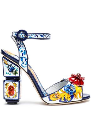 DOLCE & GABBANA Floral-appliquéd printed patent-leather sandals