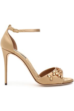 DOLCE & GABBANA Crystal-embellished leather sandals