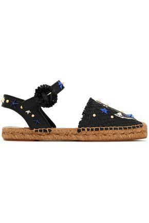 DOLCE & GABBANA Appliquéd woven espadrille sandals